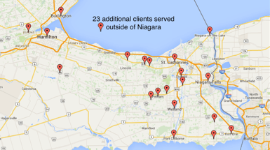 Innovate Niagara client locations within the Niagara Region